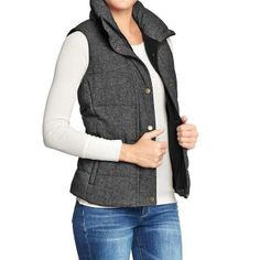 BRAND NEW Women's Old Navy gray Tweed Quilted Puffer Vest: size xl
