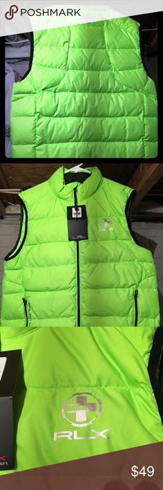Men's Polo RLX Puffer Vest Hi-Vi Lime Green Hot Color    Be Seen Polo by Ralph Lauren Jackets & Coats Puffers
