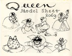 Vintage Disney Alice in Wonderland: Animation Model Sheet - Queen of Hearts Alice In Wonderland Printables, Film Alice In Wonderland, Adventures In Wonderland, Wonderland Party, Disney Sketches, Disney Drawings, Cartoon Drawings, Disney Concept Art, Disney Art