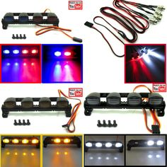 New Light Bars and Kits for your RC. Many of these new and old awesome light kits have YT video's here https://www.youtube.com/channel/UCQcv35YL8Cm-SgMi7K8mDrw New light bars come in blue & red, Amber, or white FEATURES: Flashing or Solid options Awesome police light bar looks 5 Modes Low amperage draw Working voltage: 4.8-6V Approx Size: 105mm Wide x 37mm Tall, 18mm Deep Find the right lights for your RC at TheToyz.com and most items over 9.99 ship for free in the USA.