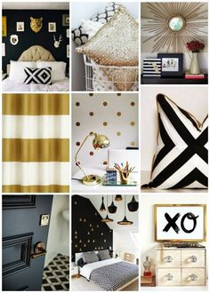 Pretty Perfect Living: Black White and Gold - http://centophobe.com/pretty-perfect-living-black-white-and-gold/ -