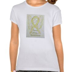 """#SpinaBifida #Awareness Ribbon Angel Art Shirt ` T-shirt words state """"Spina Bifida Awareness""""; however, it can be can be customized with your own message and custom words. The yellow awareness angel ribbon t-shirt art can be customized with personalized messages to make great cause shirts for fundraiser clothing, custom team walk shirts, personal awareness gifts, and more!"""