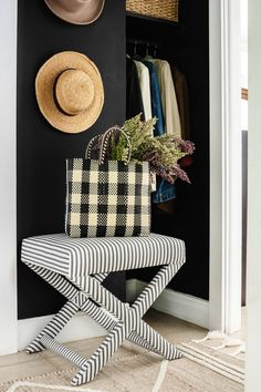 Your dark cozy bohemian home can still give a warm welcome every day when you enter your home. Set up a vignette at your home entrance anchored by an ottoman where you can toss your farmer's market bag and straw hat. X Bench, Fall Color Palette, Ticking Stripe, House Entrance, Black Decor, Beautiful Space, Living Room Furniture, Ottoman, Black And White