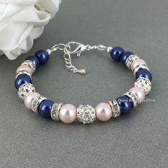 Navy Blue Bracelet, Navy and Light Pink Bracelet, Bridesmaid Gift, Navy and Blush Bracelet, Navy Blue Jewelry, Bridesmaids Bracelet, Wedding by DaisyBeadzJoaillerie on Etsy https://www.etsy.com/listing/204279749/navy-blue-bracelet-navy-and-light-pink