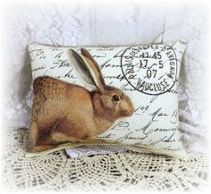 Shabby Vintage Chic 10x7 Cute Bunny  Accent Pillow