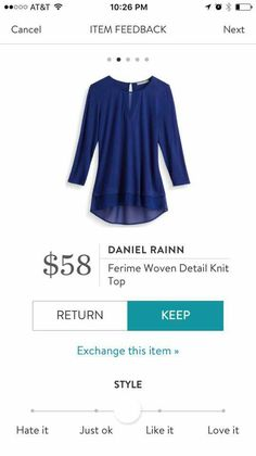 StitchFix 10/14/17....pretty color and nice style.  It is still in 70s off and on here, unusually warm, so it is hard to think of longer sleeves ... but this is nice.  If it isn't acrylic, I'd definitely try it.