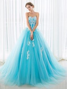 Beautiful Sweetheart Tulle with Appliques Lace Sweep Train Lace-up Ball Gown Ball Dresses