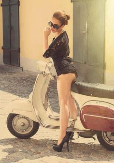 'Retro Vespa' ~ That seat's a lucky, lucky strip of leather! I'll take her heels and her lil' scooter too ;)