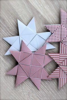 photo tutorial ... woven paper star ornament ... flat form of German Star ornament ...
