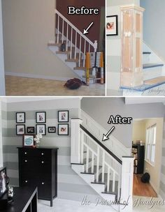 20 Inexpensive Ways to Dress Up Your Home with Molding Looking for an easy and inexpensive way to dress up your old furniture or upgrade . 20 Inexpensive Ways to Dress Up Your Home with Molding Nirtak Rebüf blaustrumpfk Häuser 20 Inexpensive Ways Staircase Remodel, Staircase Makeover, Staircase Molding, Replace Stair Railing, Staircase Banister Ideas, Stairway Railing Ideas, Stairway Pictures, Bannister Ideas, Black Stair Railing