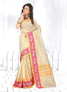Saree collection for any women buy online. Order this cotton   patch border work casual saree for festival and party.