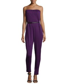TATA8 Halston Heritage Strapless Belted Jumpsuit, Blackberry