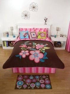 New Pink Brown Flowers Comforter Bedding Set Queen 11 P Bed Comforter Sets, Queen Bedding Sets, Pink Bedding, Brown Bedding, Girls Bedroom, Bedroom Decor, Bedroom Ideas, Cozy Bedroom, Cute Teen Rooms