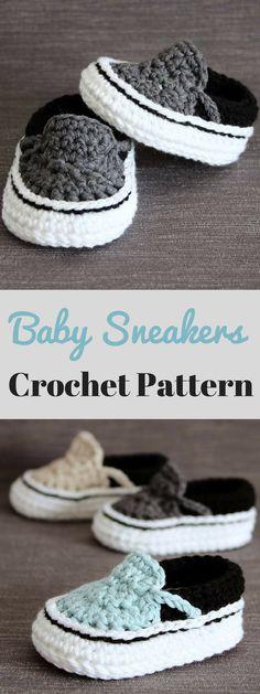 Love these Vans style baby sneaker crochet pattern. #ad #gift #crochet #baby #vans #sneakers #shoes #booties #crafts