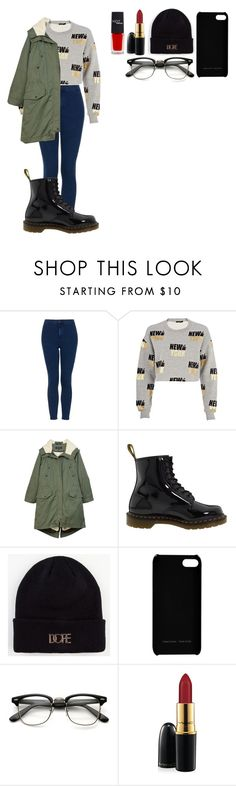 """Cute outfit"" by totesmaglee ❤ liked on Polyvore featuring Topshop, River Island, rag & bone, Dr. Martens, Dope, Maison Takuya, MAC Cosmetics and HOTmakeup"