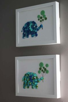 Cute button elephants. - Top 28 Most Adorable DIY Wall Art Projects For Kids Room**