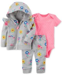ce2fc428f9 Carter s 3-Pc. Floral-Print Hoodie