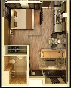 Desain Sketsa Denah Rumah Kecil 1 Kamar Tidur