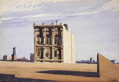 "igormaglica: "" Edward Hopper (1882–1967), Skyline near Washington Square, 1925. watercolor, 38.3 x 54.8 cm """