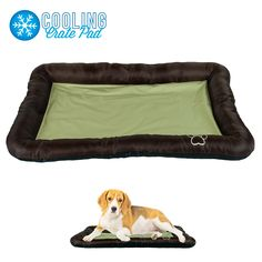 """Keep your furry friend cool both indoors and out with Beatrice's Cooling Crate Pad. The puncture-resistant bed is filled with a non-toxic cooling gel and has a 2 3/4"""" raised pillow edge to cushion their head while sleeping. Can be used as a crate liner or a spot to nap in the warmer months. The cooling gel also provides comfort for older animals that suffer from joint pain.Ambient air will naturally cool the mat again without any need to freeze or chill."""