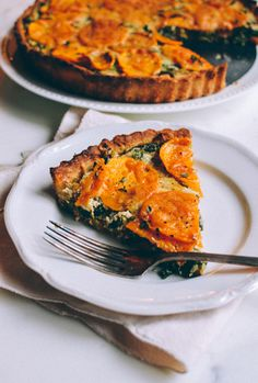Cheesy Kale Sweet Potato Tart, by thewoksoflife.com, a perfect side dish for your Thanksgiving feast!