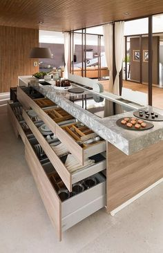 Modern Kitchen Interior Love this contemporary kitchen and look at those drawers.: - The kitchen is undoubtedly one of the most important spaces in the home and is the centre of activity in family life, a place to create, feel and live. Smart Kitchen, New Kitchen, Functional Kitchen, Awesome Kitchen, Island Kitchen, Country Kitchen, Hidden Kitchen, Kitchen Hacks, Kitchen Small