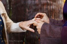 Terra and Dominique ~ exchanging their Touch Wood Rings Under the Ancient Cedar Trees