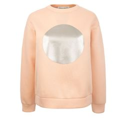 Etre Cecile Circle Boyfriend Sweat In Pink (£60) ❤ liked on Polyvore featuring tops, hoodies, sweatshirts, long sleeve tops, pink sweatshirts, boyfriend tank top, high neck sweatshirt and cotton sweatshirts