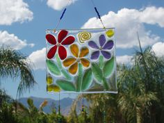 Three flowers sun catcher