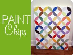 DIY: use paint chips cut out into a leaf shape...glue the shapes in a repeating pattern on the canvas