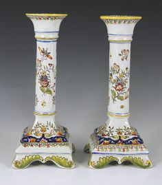 Lovely Pair of Century Hand Painted French Faience Candlesticks Quimper Pottery, Table Dressing, Candle Sticks, Light My Fire, Candlestick Holders, China Porcelain, Ruby Lane, Decorative Objects, Home Decor Accessories