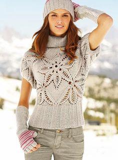 Вязание спицами свитера с красивым ажурным цветком на резинке. Схема вязания свитера спицами + описание. Вяжем свитер спицами вместе с Колибри.