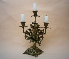 Brass Candelabra, Early 1900's, 3 Candle Holder and Fairy Figure by CaveHouseCollection on Etsy