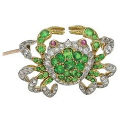 1890s Late Victorian Garnet Diamond Silver Gold Crab Brooch   From a unique collection of vintage brooches at https://www.1stdibs.com/jewelry/brooches/brooches/