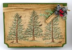 Grungy & Shabby Christmas Card...with trees, pinecones, & tag.