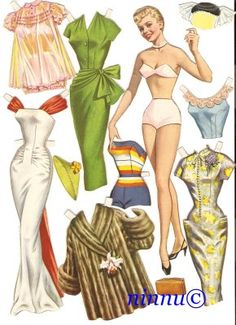 Sus figuras eran perfectas* For lots of free Christmas paper dolls International Paper Doll Society #ArielleGabriel artist #ArtrA thanks to Pinterest paper doll & holiday collectors for sharing *