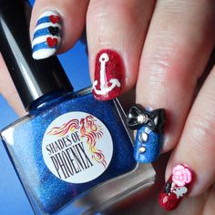 Rockabilly nail art using Shades of Phoenix Classy Chassis and Back Seat Bingo