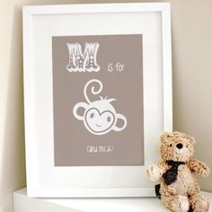 M is for monkey (and a child's name of your choice).  Brighten up the nursery or a child's bedroom with this cute and colourful quirky artwork.  Customise the colour to suit your interior and personalise with the name of your choice.  This tailored contemporary artwork provides a gift to be cherished and a unique and special addition to any home.  The perfect present for a new born baby or child's birthday.  Each print is gift wrapped in tissue paper to ensure it arrives to you lo...