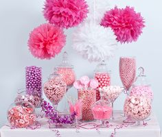 Fairy Godmothers Candy Cove Create a magical ambience that little girls will love by decorating tables in pink and purple table clothes. On the tables fill apothecary jars with pink and purple candy - you can buy bulk candy here. It is probably a good idea to set up a drink station here also. Fill a glass jug with homemade pink lemonade and set out some Cinderella themed straws and drinking cups.