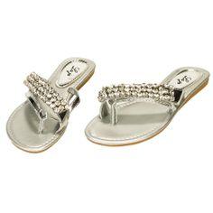Rhinestone Flip Flops for Women   Women's Crystal Rhinestone Flip Flop Thong Bling Sandals Silver 10 ...