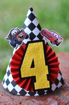 Disney Cars Party Hat but with a 1 on it! Pixar Cars Birthday, Race Car Birthday, Race Car Party, 3rd Birthday, Festa Hot Wheels, Hot Wheels Party, Car Themed Parties, Cars Birthday Parties, Lightning Mcqueen Party