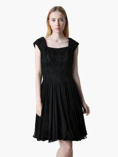 Vintage 50s black silk chiffon party dress