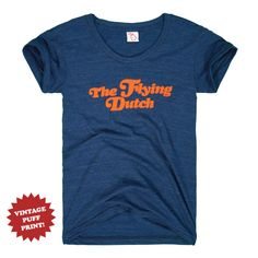 The Flying Dutch was coined by a journalist in 1958 following a big basketball win. Super soft tri-blend (cotton/poly/rayon) t-shirt with raised puff ink. Designed in Michigan by The Mitten State. Made in USA. Officially licensed.