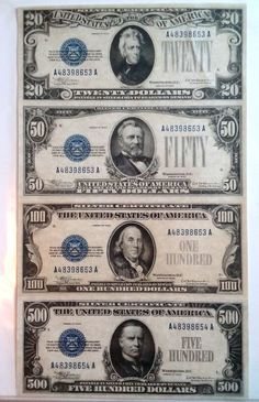 fantasy silver certificates, these types of blue seal notes were never issued Silver Eagle Coins, Gold And Silver Coins, Old Coins, Rare Coins, American Coins, American Dollar, Chicago Pictures, Money Notes, Wolf Artwork