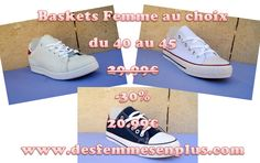 les baskets femme grande pointure du 40 au 45 à -30% soit 20.99€ au lieu de 29.99€ sur www.desfemmesenplus.com et au show-room desfemmesenplus.com à Soissons(02) 1 rue racine (rond-point du Vase) du mardi au samedi de 10h à 12h30 et de 13h30 à 19h - 03 23 54 77 08