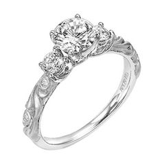 Art Carved Three Stone Diamond Engagement Ring W/ Floral Carving
