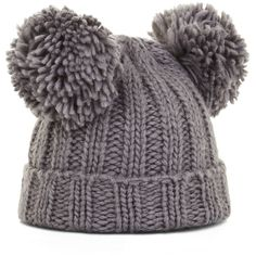 BCBGMAXAZRIA Pom Cuff Beanie ($48) ❤ liked on Polyvore featuring accessories, hats, beanie, grey, pom pom beanie, beanie cap, grey hat, beanie hats and gray beanie hat