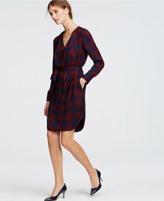 Step up your standard shirt dress with a checked pattern.