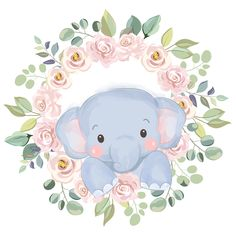 Poster Baby, Baby Posters, Elephant Illustration, Cute Animal Illustration, Baby Animals, Cute Animals, Watercolor Animals, Cute Images, Drawing For Kids