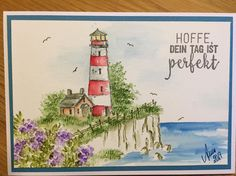 Art Impressions wonderful watercolor. Handmade water color card with lighthouse. Light house.